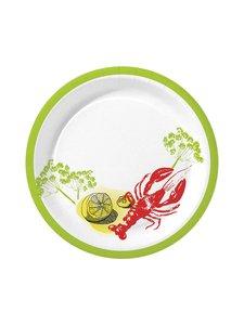 Duni - Crayfish Party -kertakäyttölautanen 26 cm, 10 kpl - RED-WHITE-GREEN | Stockmann