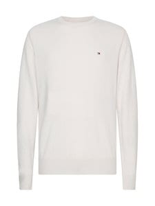 Tommy Hilfiger - Luxury Wool Cotton Crew Neck -villa-puuvillaneule - YBV IVORY HEATHER | Stockmann