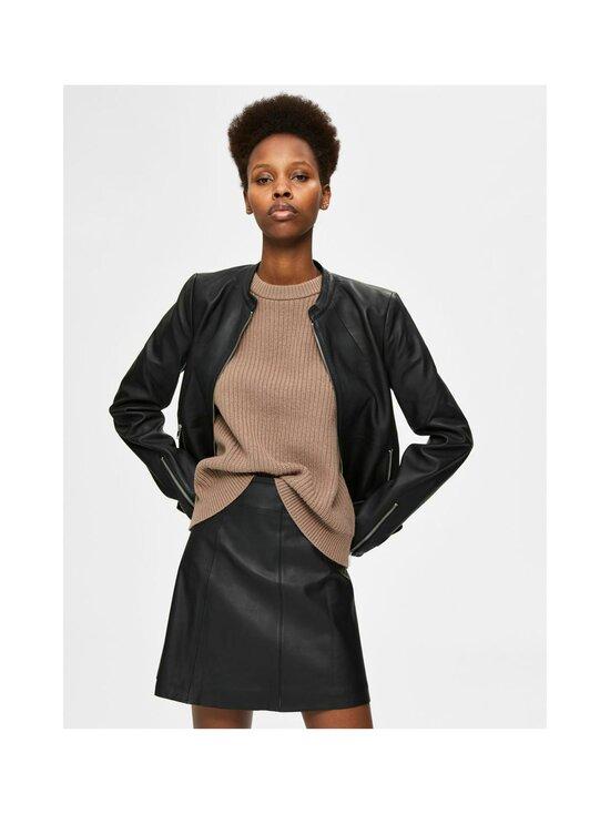 Selected - SlfIBi Leather Jacket -nahkatakki - BLACK | Stockmann - photo 3