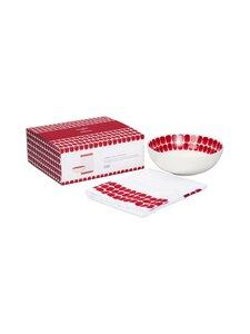 Arabia - 24h Tuokio -syvä lautanen 18 cm ja keittiöpyyhe 43 x 67 cm - RED | Stockmann