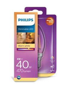 Philips - LED Classic 5W B35 E14 -kynttilälamppu - WHITE | Stockmann