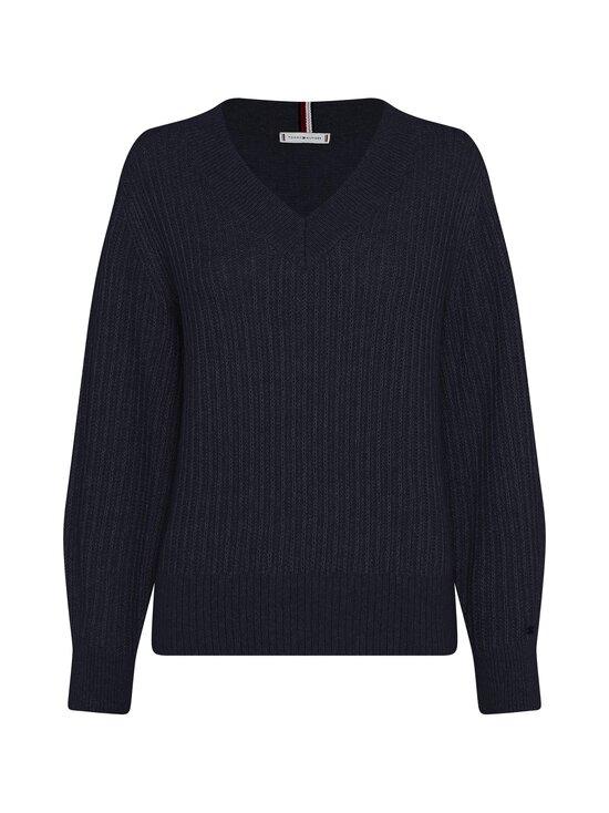 Tommy Hilfiger Curve - Textured Stitch V-Neck Sweater -villasekoiteneule - DW5 DESERT SKY | Stockmann - photo 1