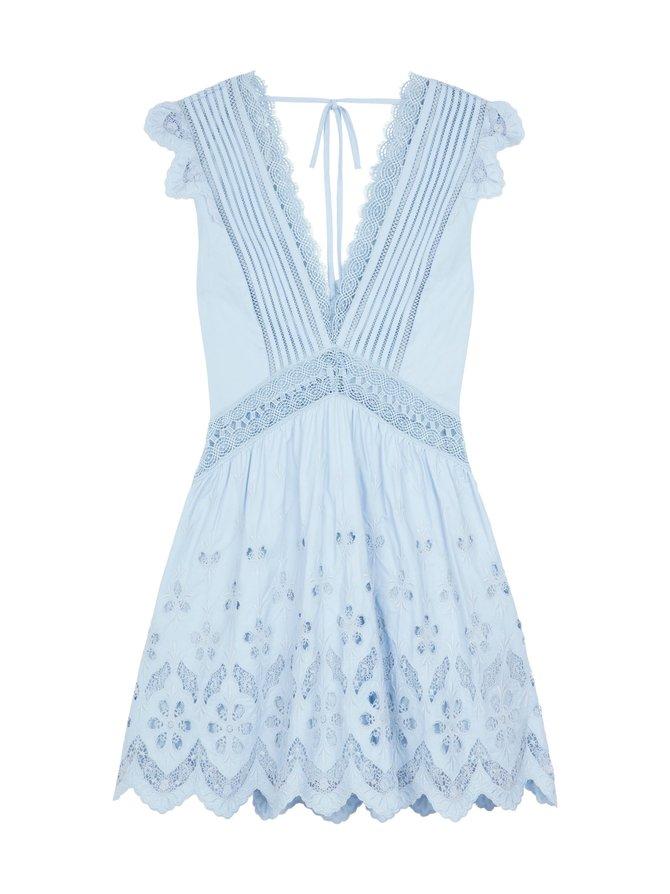 Cotton Broderie Sleeveless Mini Dress -mekko