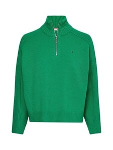 Tommy Hilfiger - ZIP-UP HIGH-NECK -puuvillaneule - L14 PRIMARY GREEN | Stockmann