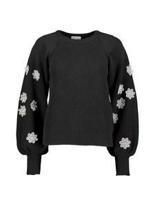 RED Valentino - Organza Flowers Embroidered Wool Sweater -villasekoiteneule - 0NO BLACK | Stockmann