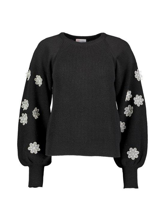 RED Valentino - Organza Flowers Embroidered Wool Sweater -villasekoiteneule - 0NO BLACK | Stockmann - photo 1
