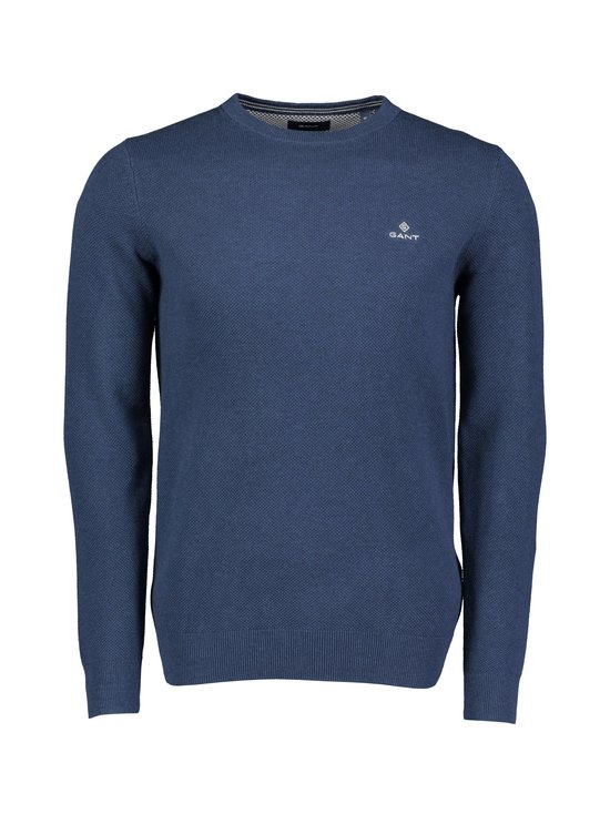 GANT - Cotton Piqué Crew Neck Sweater -puuvillaneule - 487 MARINE MELANGE | Stockmann - photo 1