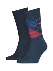 Tommy Hilfiger - Th Men Sock Check -sukat 2-pack - 010NAVY / RED | Stockmann