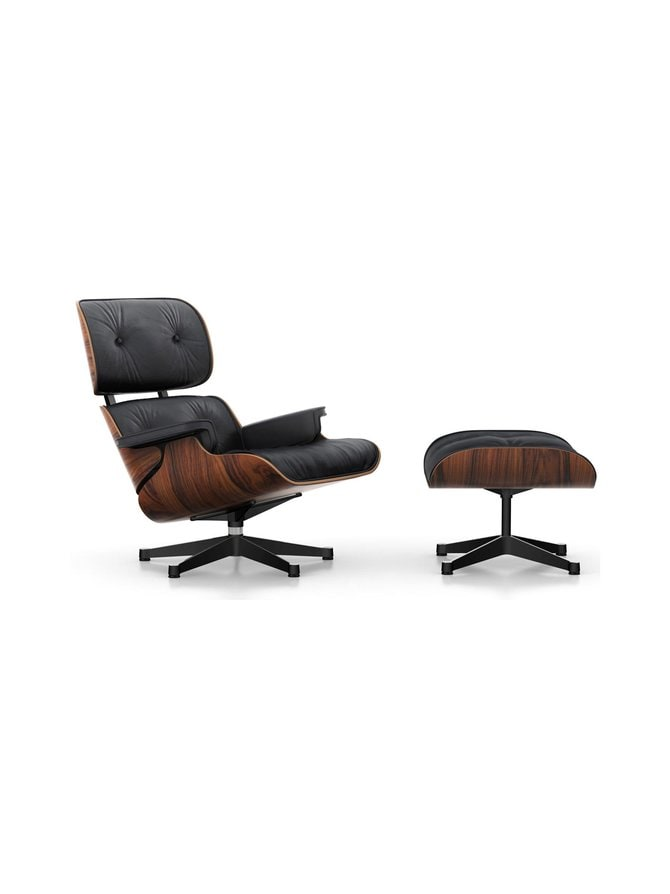Eames Lounge Chair -nojatuoli ja rahi