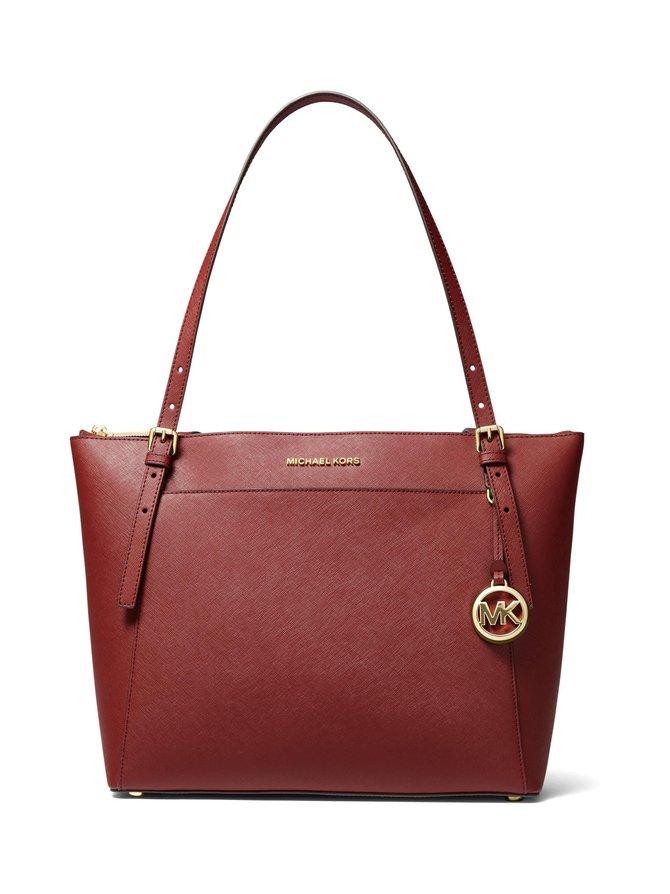 Voyager Large Saffiano Leather Top-Zip Tote Bag -nahkalaukku
