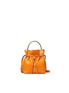 Tory Burch - Kira Chevron Mini Bucket Bag -nahkalaukku - SQUASH / ROLLED BRASS | Stockmann