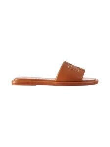 Tory Burch - Double T Sport Slide Flat -sandaalit - 268 CAMELLO / GOLD | Stockmann