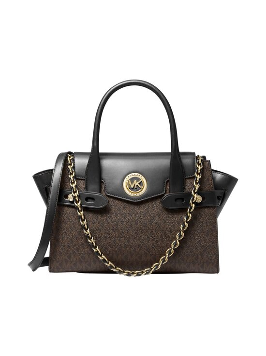 Michael Michael Kors - Carmen Small Logo and Leather Belted Satchel -laukku - 292 BROWN/BLK | Stockmann - photo 1