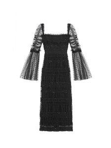 Self-Portrait - Black Dot Mesh Midi Dress -mekko - BLACK | Stockmann