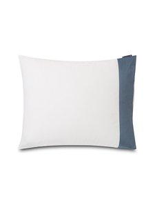 Lexington - Contrast Cotton Sateen -tyynyliina 50 x 60 cm - WHITE/STEEL BLUE | Stockmann