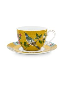 PIP Studio - Blushing Birds -cappuccinokuppi 280 ml ja lautanen - YELLOW | Stockmann