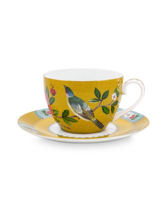 Blushing Birds -cappuccinokuppi 280 ml ja lautanen