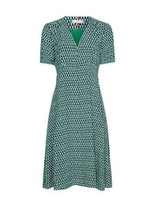 Tommy Hilfiger Curve - Crv Poplin Knee Dress -viskoosimekko - 0H9 COURT SIDE GEO / PRIMARY GREEN   Stockmann