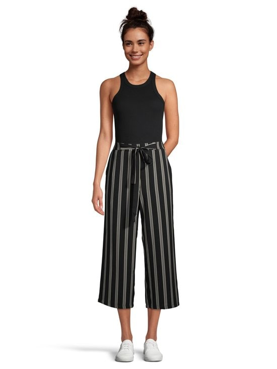 Pieces - PcKellie High Waist Culotte -housut - BLACK AOP:CLOUD DANCER-DEEP LICHEN GREEN STRIPES | Stockmann - photo 2
