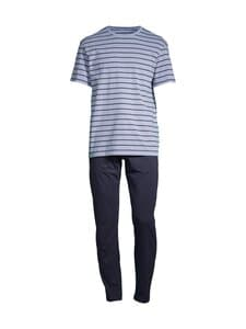 Cap Horn loungewear - DOIVA -pyjama - LT.BLUE-NAVY STRIPED T-SHIRT AND NAVY PYJAMA PANTS   Stockmann