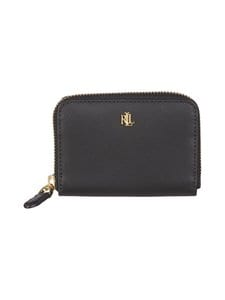 Lauren Ralph Lauren - Carryover Small Zip Wallet -nahkalompakko - 2WNV BLACK/CRIMSON | Stockmann