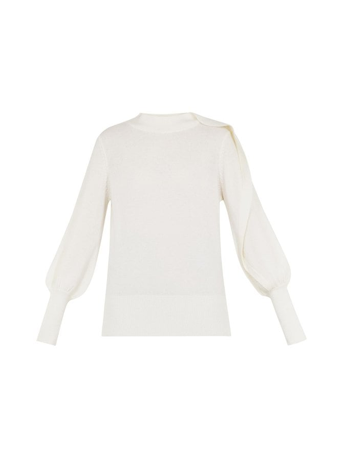 Mayrei Sculptural Sleeve Jumper -neule