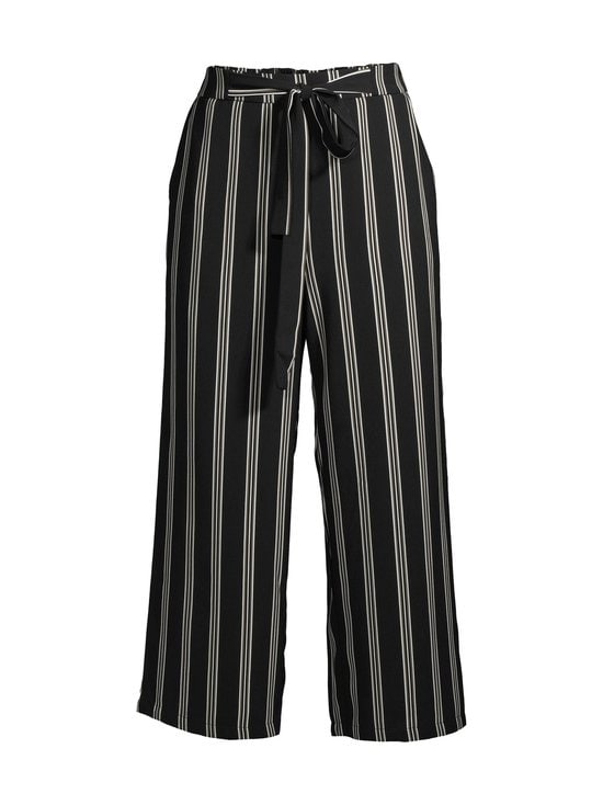 Pieces - PcKellie High Waist Culotte -housut - BLACK AOP:CLOUD DANCER-DEEP LICHEN GREEN STRIPES | Stockmann - photo 1