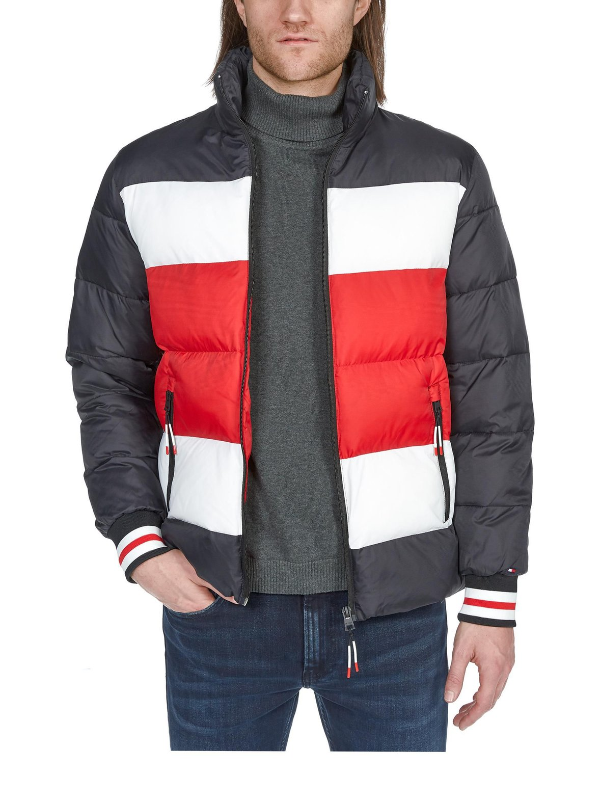 Musta valkoinen punainen Tommy Hilfiger Stripe Quilted Bomber ... ef54cee462