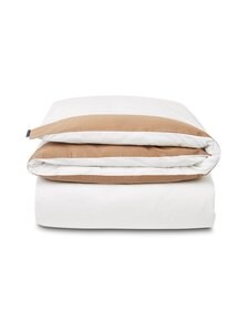 Lexington - Contrast Cotton Sateen -pussilakana - WHITE/DK BEIGE | Stockmann