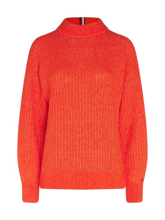 Textured Stitch Mock-Neck Sweater -villasekoiteneule
