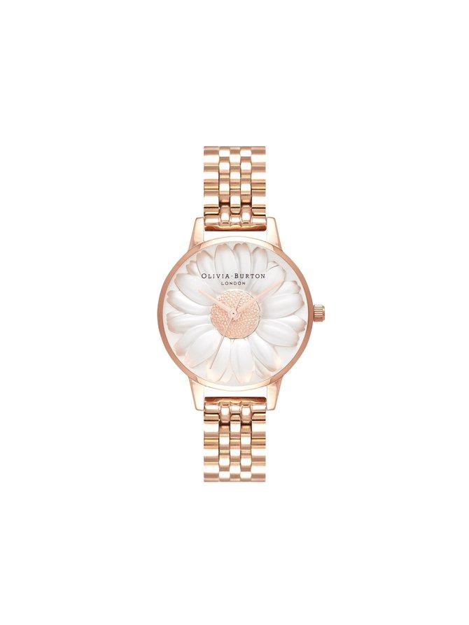 3D Daisy Rose Gold Bracelet -rannekello