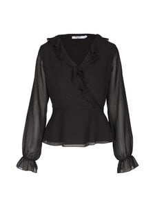 NA-KD - Wrapped Ruffle Blouse -pusero - BLACK | Stockmann