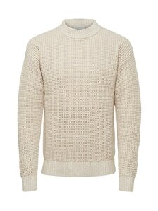 Selected - SlhNathan High Neck -puuvillaneule - OYSTER GRAY DETAIL:EGRET | Stockmann