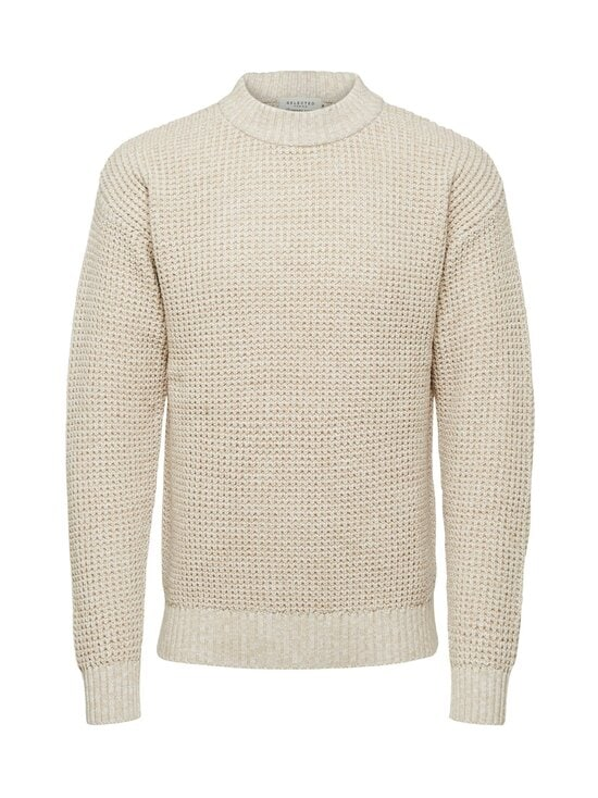 Selected - SlhNathan High Neck -puuvillaneule - OYSTER GRAY DETAIL:EGRET | Stockmann - photo 1