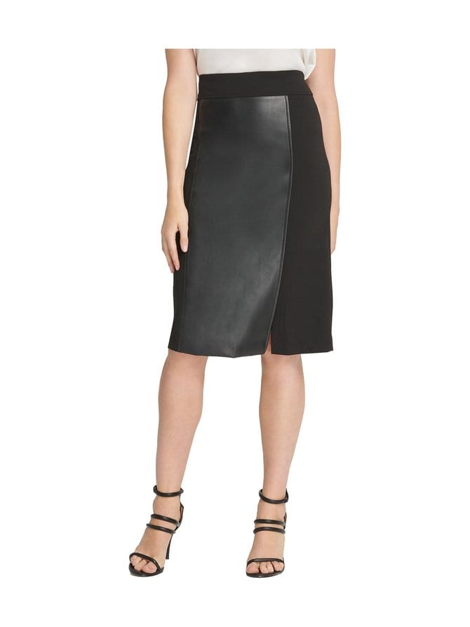 Pencil Skirt With Faux Leather -hame