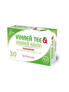 VN Via Naturale - Vihreä Tee & Vihreä Kahvi -ravintolisä 30 tabl./29 g - null   Stockmann