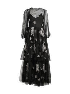 RED Valentino - Organza Flowers Embroidered Point D'Esprit Tulle Dress -mekko - 0NO BLACK | Stockmann