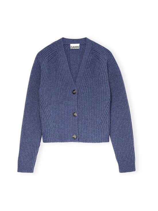 Ganni - Rib Knit Cardigan -neuletakki - DUTCH BLUE | Stockmann - photo 1