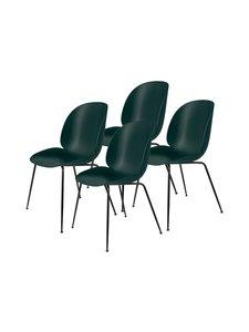 Gubi - Beetle-tuoli 4 kpl - BLACK MATT BASE, DARK GREEN, PLASTIC GLIDES | Stockmann