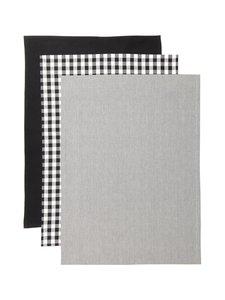 Casa Stockmann - Tavola-keittiöpyyhe 3 kpl - BLACK/WHITE | Stockmann