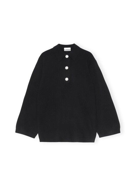Ganni - Cashmere Knit Blouse Solid -kashmirneule - BLACK   Stockmann - photo 1