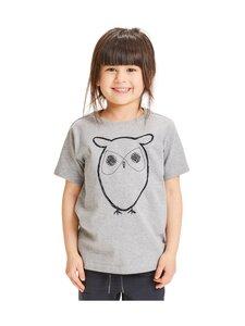 Knowledge Cotton Apparel - Flax Owl Tee -paita - 1012 GREY MELANGE | Stockmann