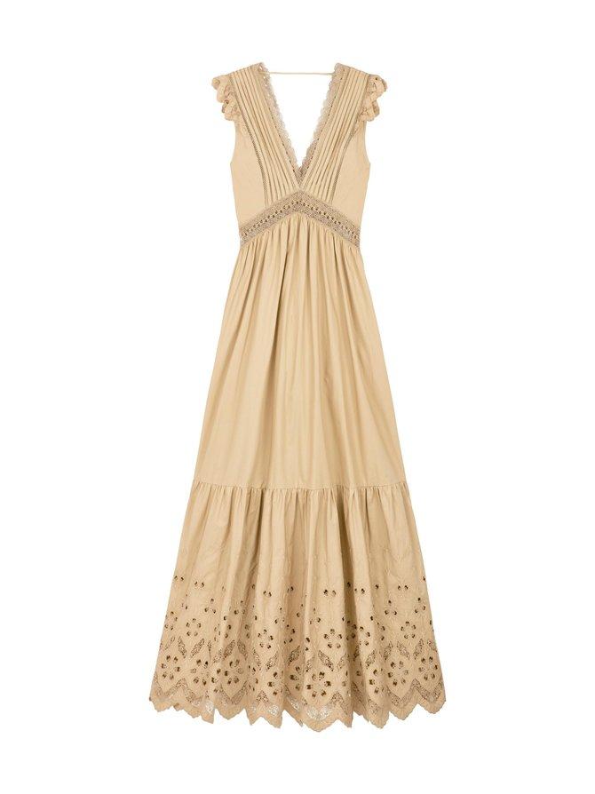 Cotton Broderie Sleeveless Maxi Dress -mekko