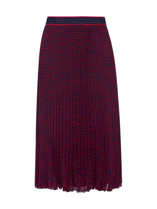Tommy Hilfiger - Bali Pleated Midi -hame - 09P TOMMY SCRIPT PRT / NIGHT SKY / RED | Stockmann - photo 1
