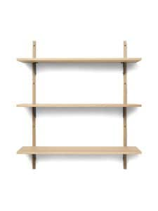 Ferm Living - Sector Shelf Triple Wide -hylly 87 x 102 x 26,1 cm - OAK - BLACK BRASS | Stockmann