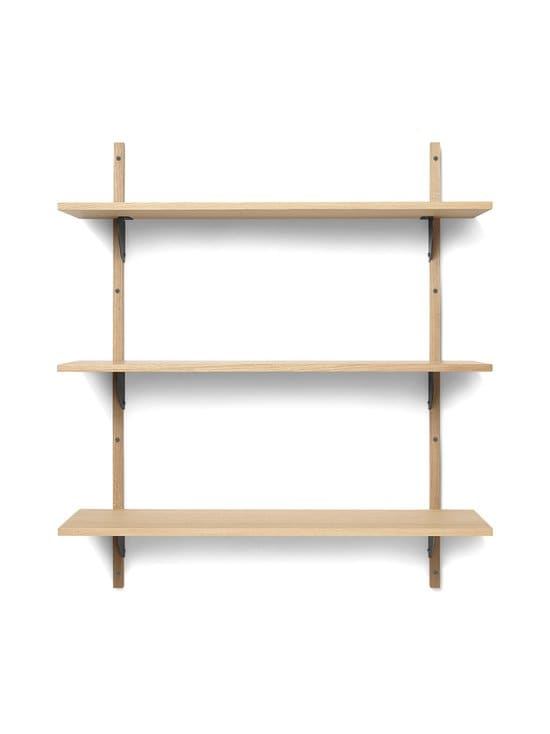 Ferm Living - Sector Shelf Triple Wide -hylly 87 x 102 x 26,1 cm - OAK - BLACK BRASS   Stockmann - photo 1