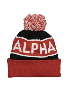 Alpha Industries - Block Bobble Beanie -pipo - BLACK/RED 94 | Stockmann