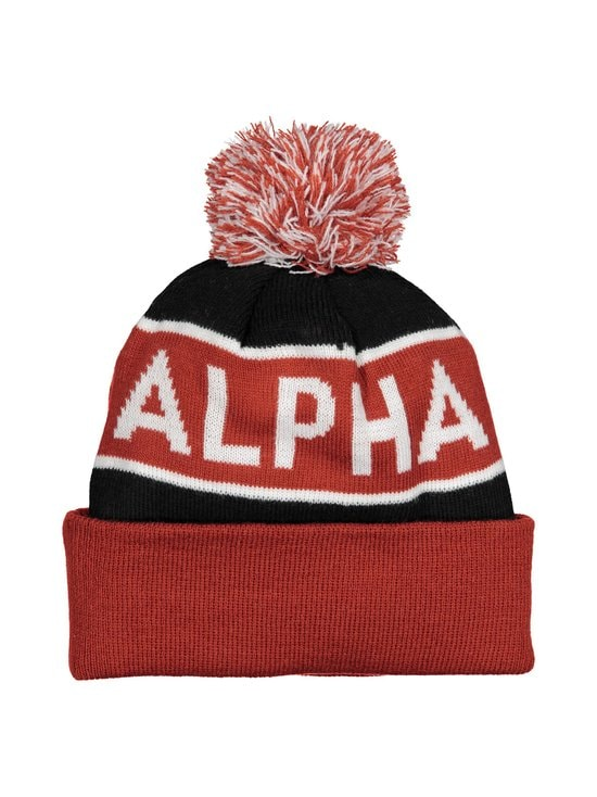 Alpha Industries - Block Bobble Beanie -pipo - BLACK/RED 94 | Stockmann - photo 1