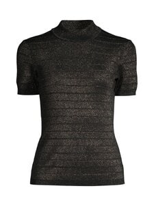 Karl Lagerfeld - Lurex Mock Neck Short Sleeve -neule - BLACK   Stockmann