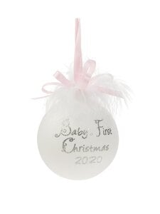 Weiste - Baby's First Christmas -joulupallo - WHITE AND PINK | Stockmann